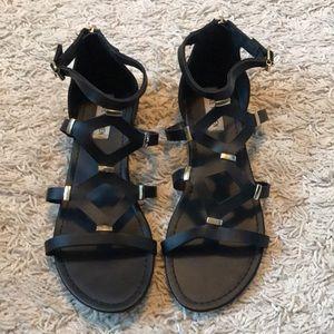 {Steve Madden} Gladiator Sandals-Black & Gold 8.5